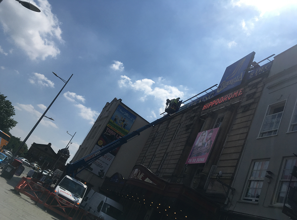 Bristol Hippodrome sign change