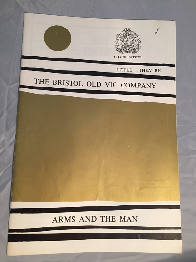 Bristol Theatre Collection. A Bristol Old Vic little theatre programme from the 70s. Gold streak across cover, black lines and City of Bristol logo. Text says The Bristol Old Vic Company for show Arms and the Man.
