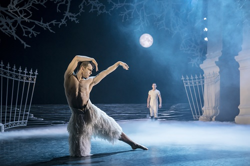 Matthew Bourne's SWAN LAKE. Will Bozier 'The Swan' and Dominic North 'The Prince'. Photo by Johan Persson