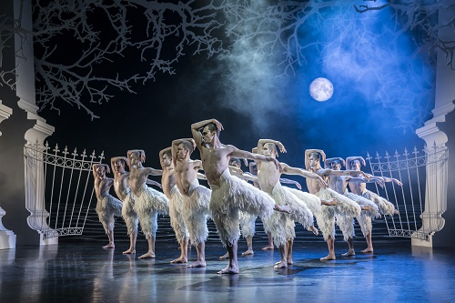 Matthew Bourne's SWAN LAKE. Will Bozier 'The Swan' and ensemble. Photo by Johan Persson