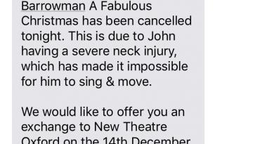 John Barrowman Bristol Hippodrome Cancellation