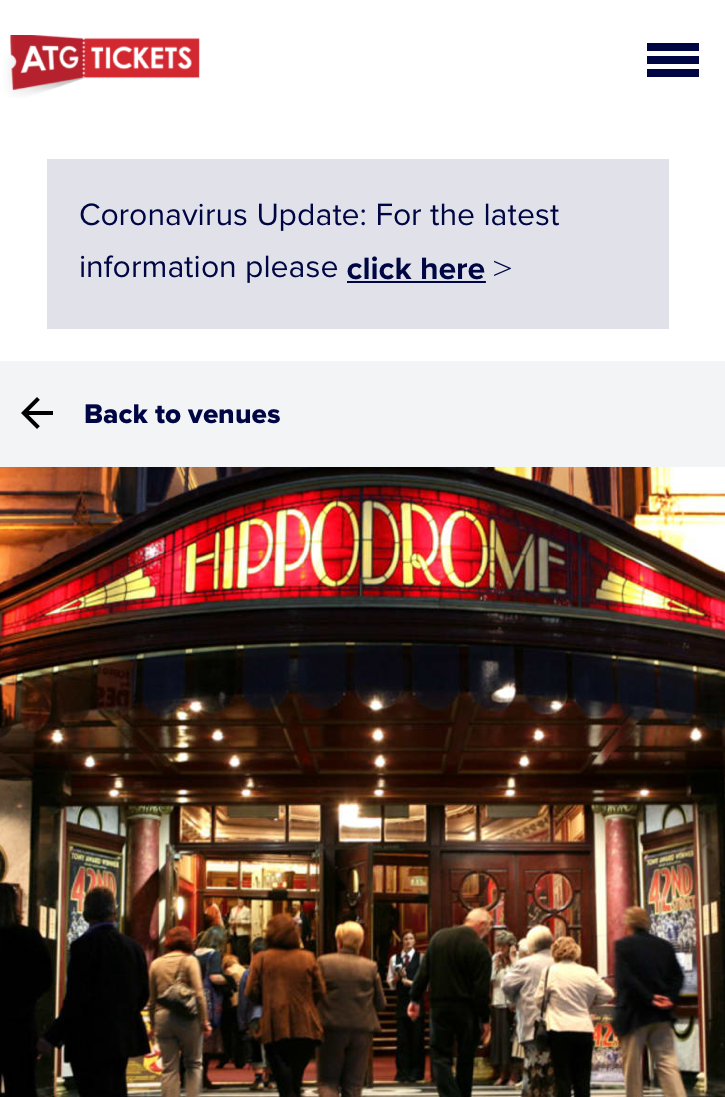 ATG releases information about Coronavirus to Bristol Hippodrome audiences