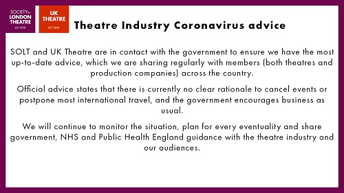 society of london theatres releases a statement about the spread of Coronavirus