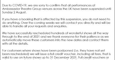 Bristol Hippodrome Coronavirus cancellations