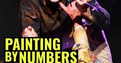 A flyer for painting by numbers, a show being performed in Bath this weekend. Full details in article text. Image features a man covered in paint and dripping blue paint.