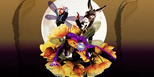 A yellow flower is at the centre of the image with a fairy wearing a purple suit in the centre on top the flower. Over the fairy's right shoulder is the head of donkey and to the left another fairy. A large white circle at the back frames the image