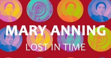 Dark red background with Mary Anning Lost in Time in strong white text. In the background ae small cameo images of Mary Anning and a fossil tiled in circles in yellows and blues