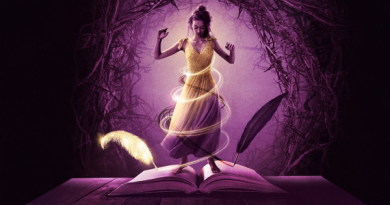 An illustrated graphic image of a character wearing a dress magically manifesting out of a large hardback book open upon a tabole. There are two quills writing on the pages. In the background is an arch way of trees. The image is different purple hues apart from the dress which blends from purple into yellow and wrapped with circles of stars